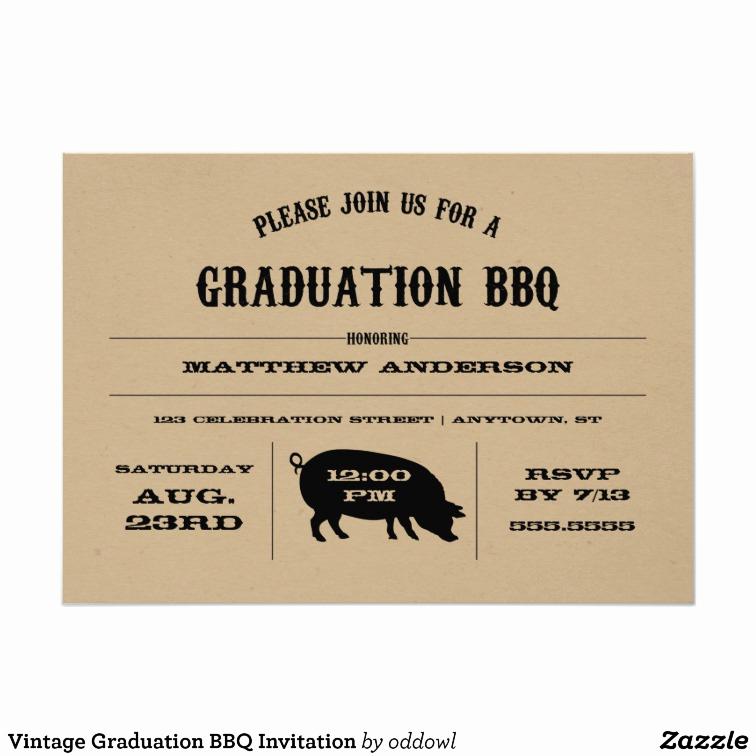 Graduation Bbq Invitation Wording New Vintage Graduation Bbq Invitation