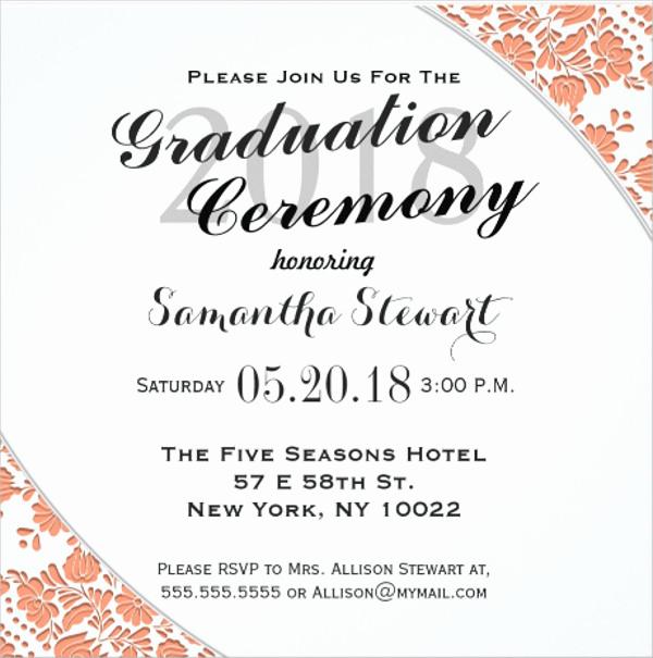 Graduation Ceremony Invitation Card Beautiful 90 Sample Invitation Cards Word Psd Ai Indesign