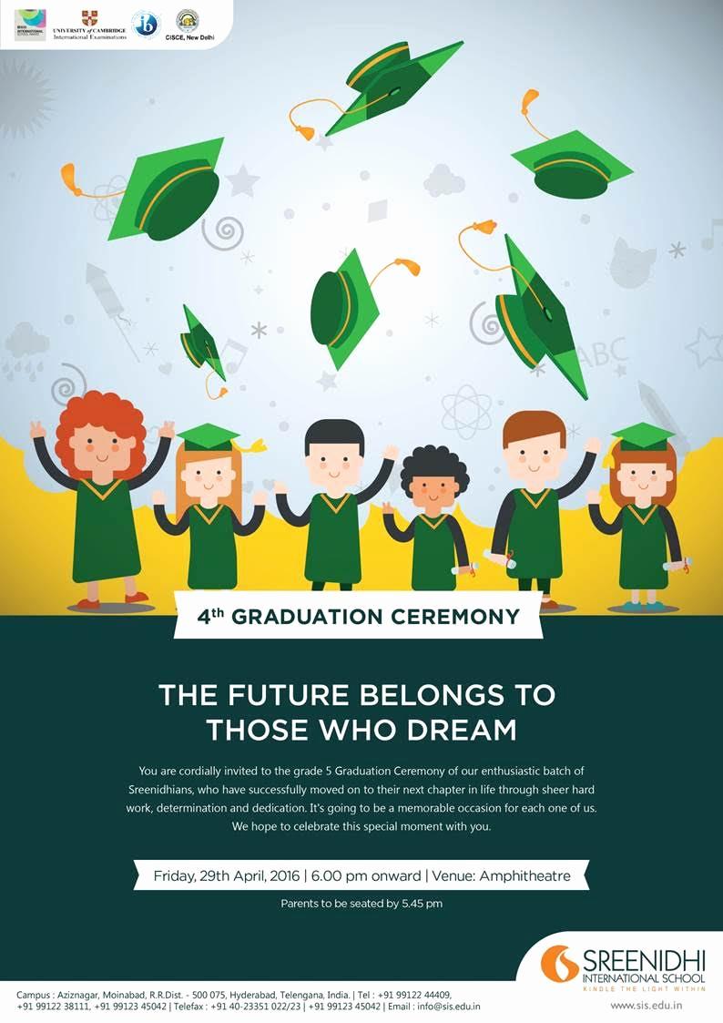 Graduation Ceremony Invitation Card Beautiful Sreenidhi International School