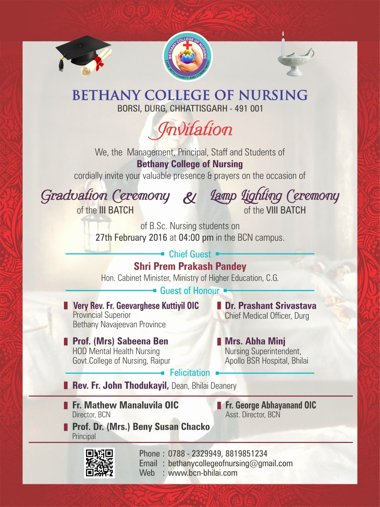Graduation Ceremony Invitation Card New Bethany College Of Nursing Durg Chhattisgarh India