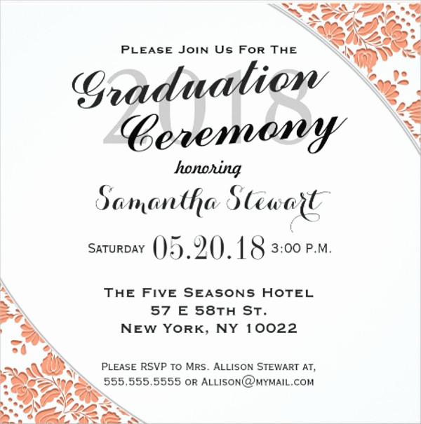 Graduation Ceremony Invitation Card Unique Graduation Ceremony Invitations Wording