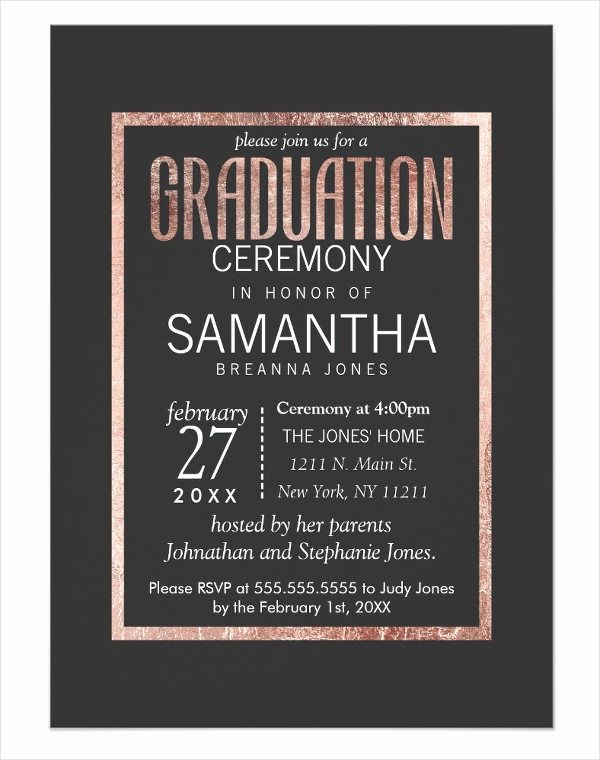Graduation Ceremony Invitation Templates Free Beautiful 49 Graduation Invitation Designs & Templates Psd Ai