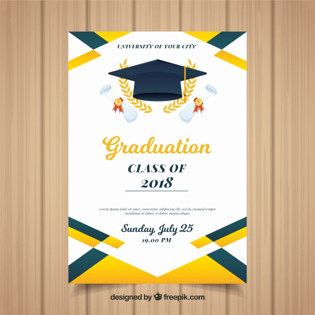 Graduation Ceremony Invitation Templates Free Fresh Colorful Graduation Invitation Template with Flat Design