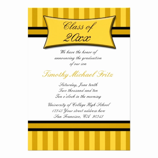 "Graduation Ceremony Invitation Wording Awesome Gold Elegant Stripe Graduation Ceremony Invitation 5"" X 7"