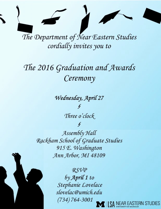 Graduation Ceremony Invitation Wording Beautiful Near Eastern Stu S Graduation Ceremony
