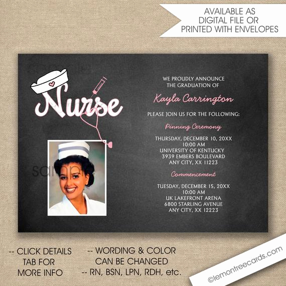 Graduation Ceremony Invitation Wording Beautiful Rn Nurse Pinning Ceremony Invitations Free Shipping