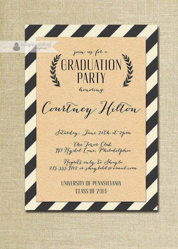 Graduation Ceremony Invitation Wording Elegant Kraft Graduation Invitation Script Black & by