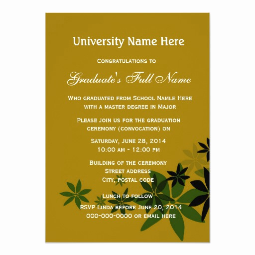 Graduation Ceremony Invitation Wording Fresh Invitations for Graduation Ceremony Convocation