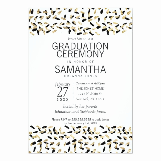 Graduation Ceremony Invitation Wording Lovely Black and Gold Speckles Graduation Ceremony Invite