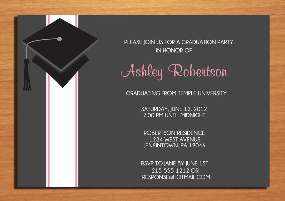 Graduation Commencement Invitation Wording Fresh Cap and Ribbon Graduation Party Invitation Cards Printable Diy
