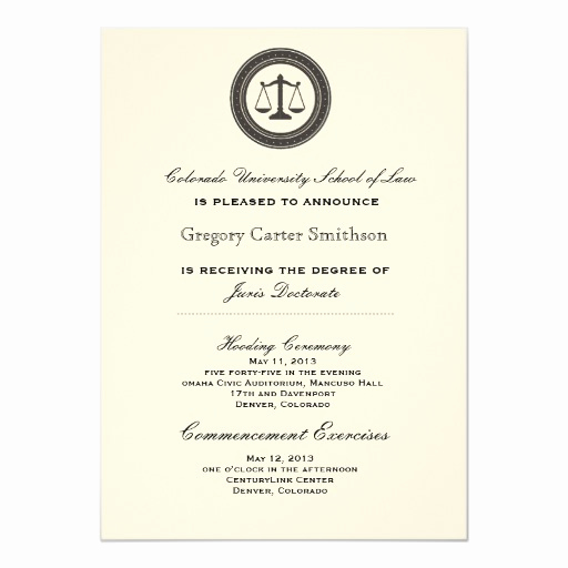 Graduation Commencement Invitation Wording Luxury Personalized Law School Graduation Announcements