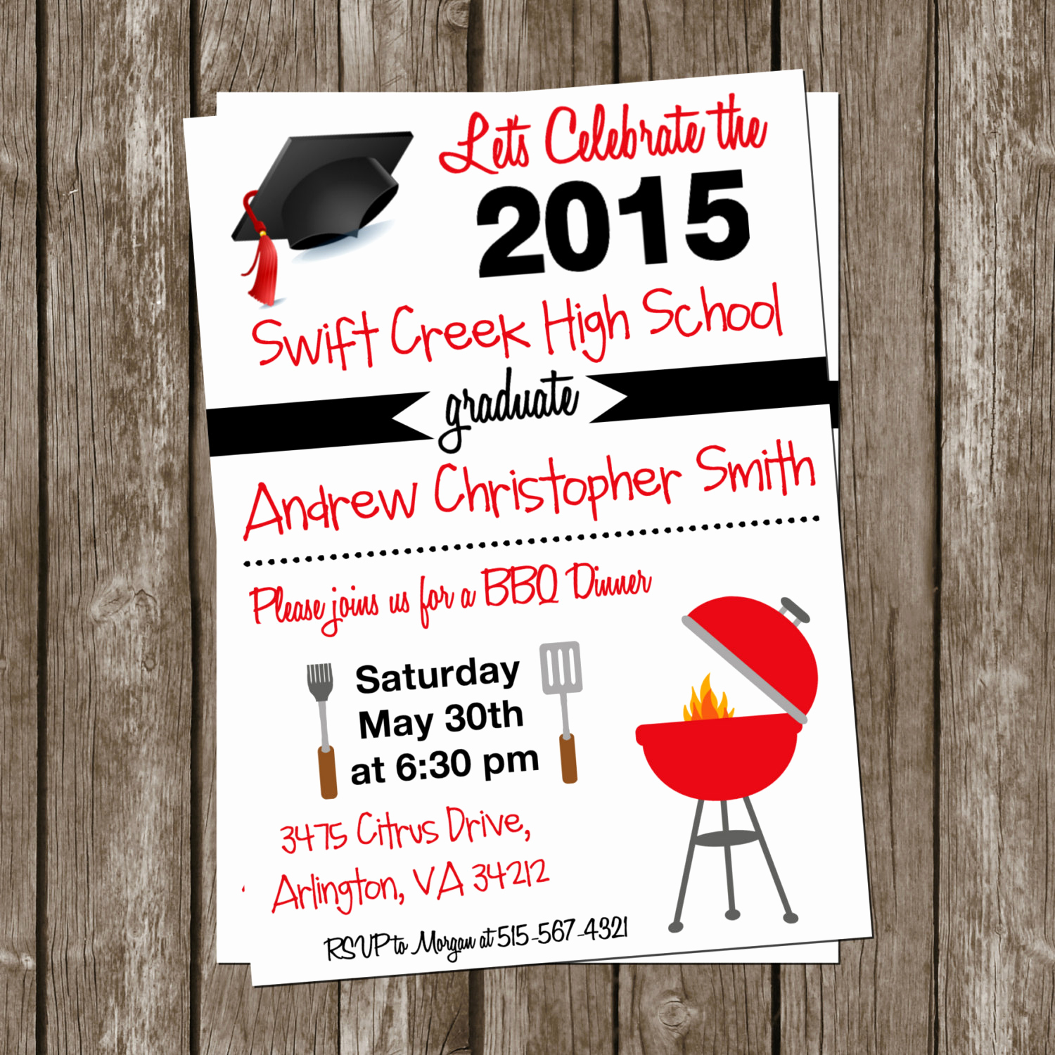 Graduation Dinner Invitation Wording Awesome Black and Red Bbq Graduation Dinner Invitation