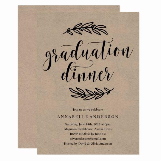 Graduation Dinner Invitation Wording Elegant Rustic Graduation Dinner Invitation