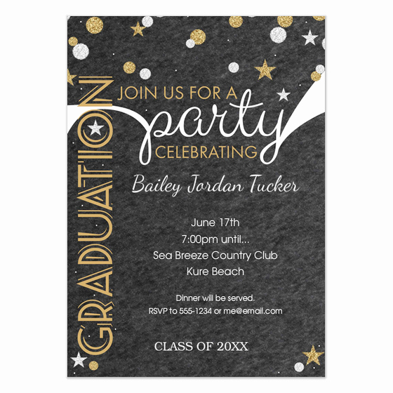 Graduation Dinner Invitation Wording Inspirational Silver and Gold Glitter Confetti Graduation Party