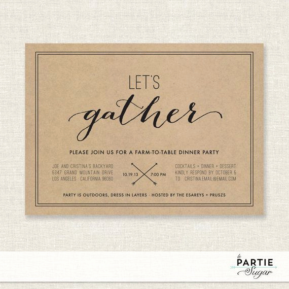 Graduation Dinner Party Invitation Wording Beautiful Let S Gather Dinner Party Invitation Printable by