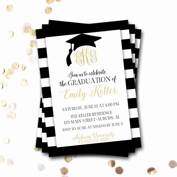Graduation Dinner Party Invitation Wording Elegant Monogram Graduation Invitation Monogram Graduation