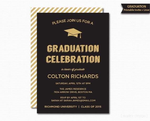 Graduation Dinner Party Invitation Wording Unique Graduation Invitation Printable Black & Gold Graduation Dinner