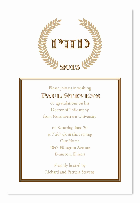 Graduation Dinner Party Invitation Wording Unique Phd Graduation Party