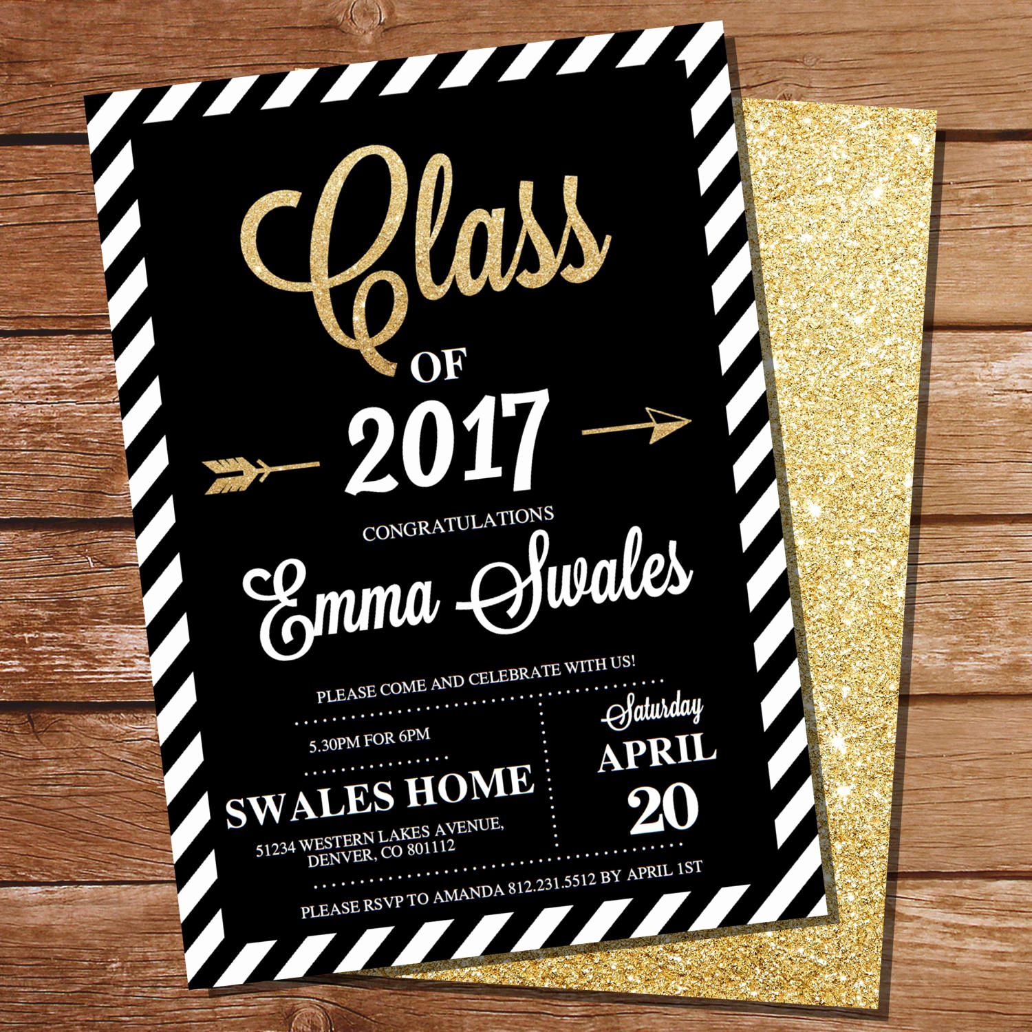 Graduation Invitation Card Ideas New Graduation Invitation Black and Gold Graduation Invitation