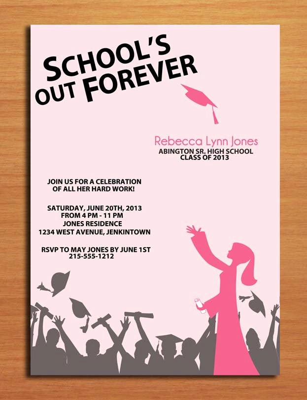 Graduation Invitation Cards Free Best Of School S Out Hat toss Graduation Party Invitation Cards
