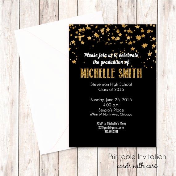 Graduation Invitation Cards Samples Awesome Gold Stars Printable Graduation Invitation Jpeg File Print
