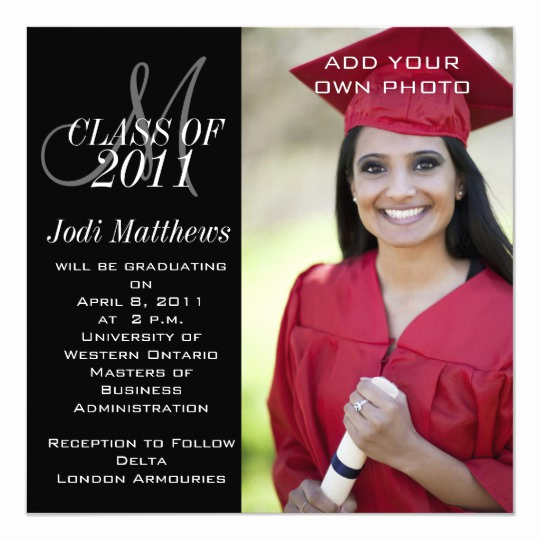 Graduation Invitation Cards Samples Beautiful Graduation Invitations Monogram