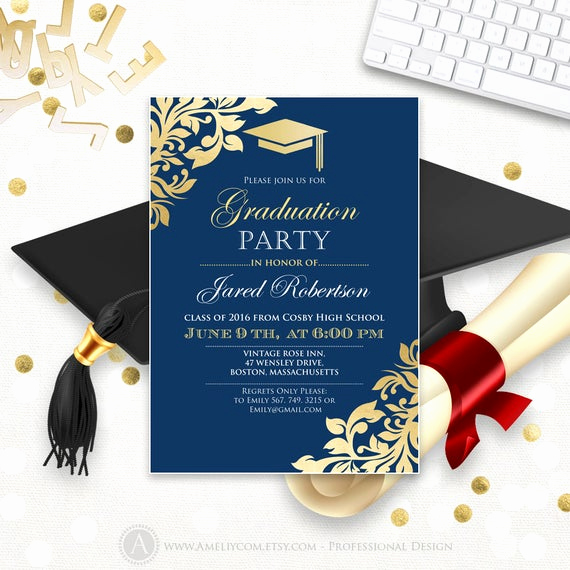 Graduation Invitation Cards Samples New Graduation Announcement Printable Navy Gold College Graduation