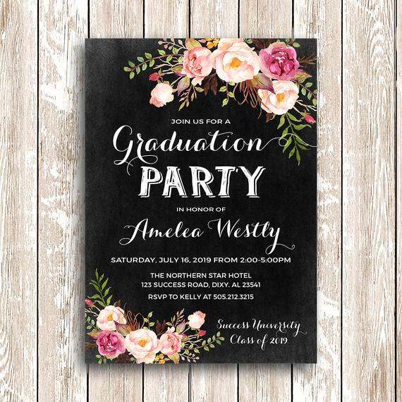 Graduation Invitation Designs Free Lovely Floral Graduation Invitation Printable Chalkboard Graduation