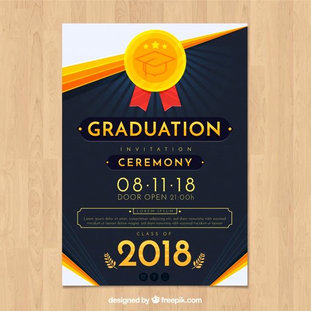 Graduation Invitation Designs Free Unique Elegant Graduation Invitation Template with Flat Design