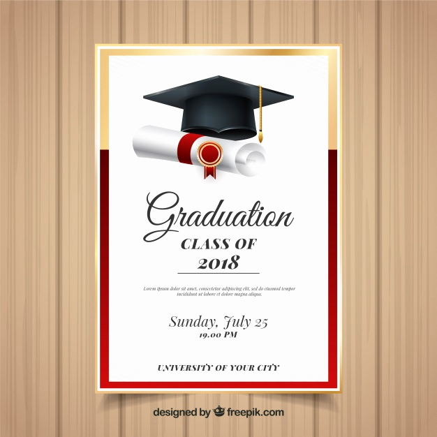 Graduation Invitation Free Templates Inspirational Elegant Graduation Invitation Template with Realistic