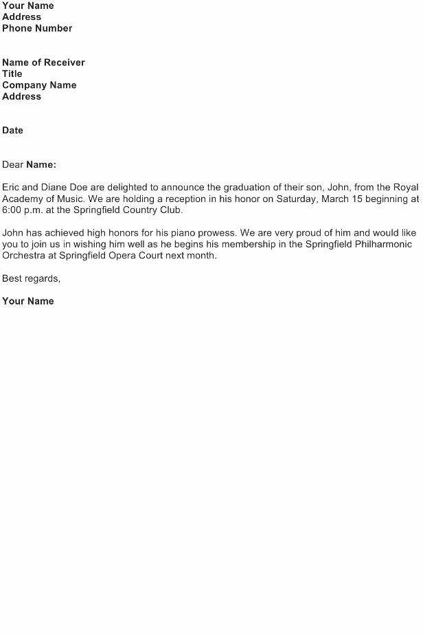 Graduation Invitation Letter Sample Lovely Announcement Letter Sample Download Free Business Letter