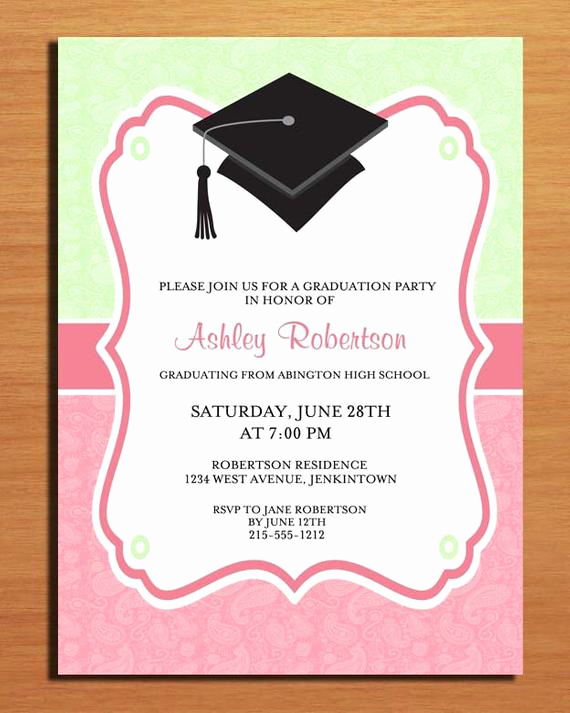 Graduation Invitation Name Cards Awesome Paisley Graduation Party Invitation Cards Printable Diy