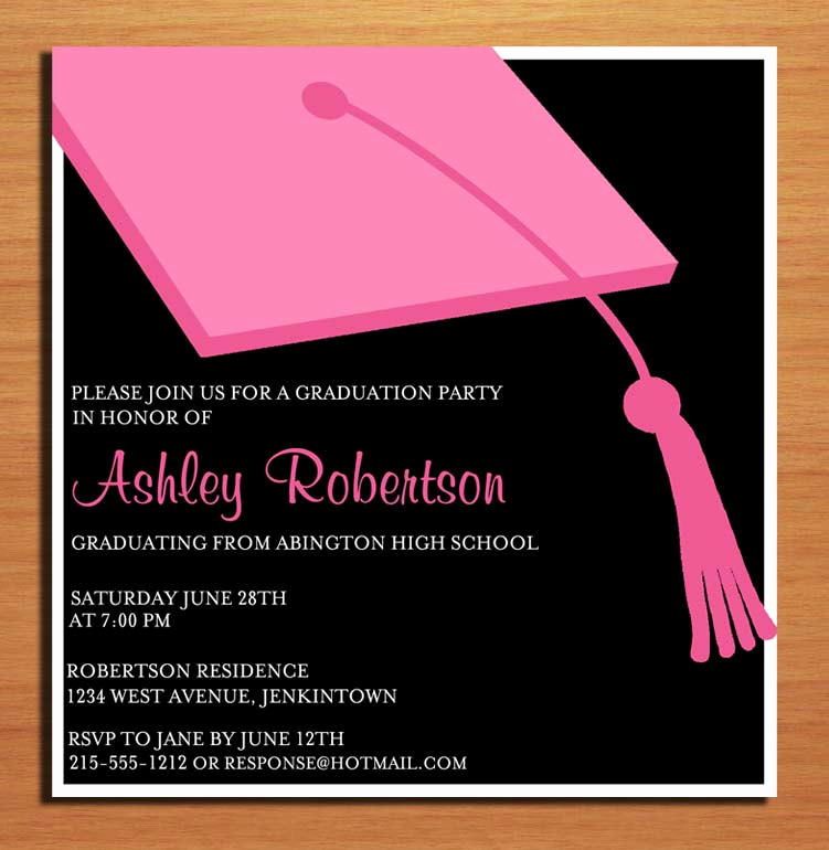 Graduation Invitation Name Cards Lovely Pink Clapboard Hat Graduation Party Invitation Cards Printable
