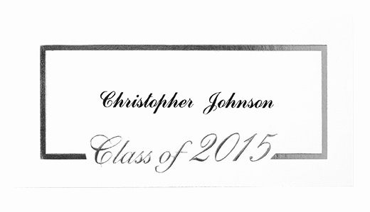 Graduation Invitation Name Cards Luxury Sy15 Foil Border Name Card Silver