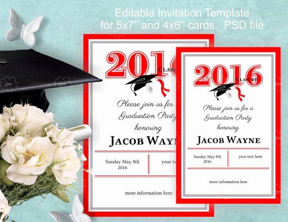 Graduation Invitation Templates 2016 Lovely Graduation Invitation Template Instant Edit