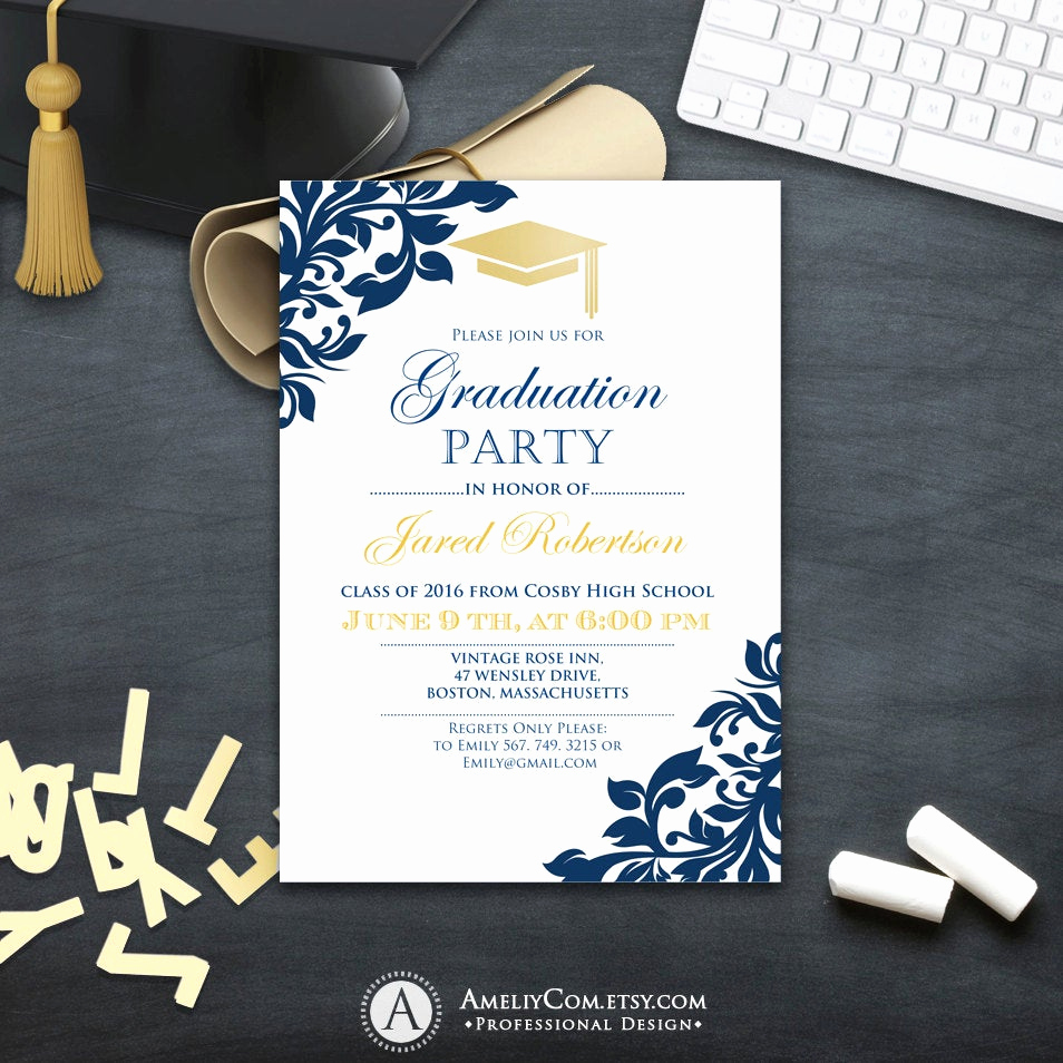 Graduation Invitation Templates 2016 Luxury Graduation Party Invitation Сollege Printable Template Boy