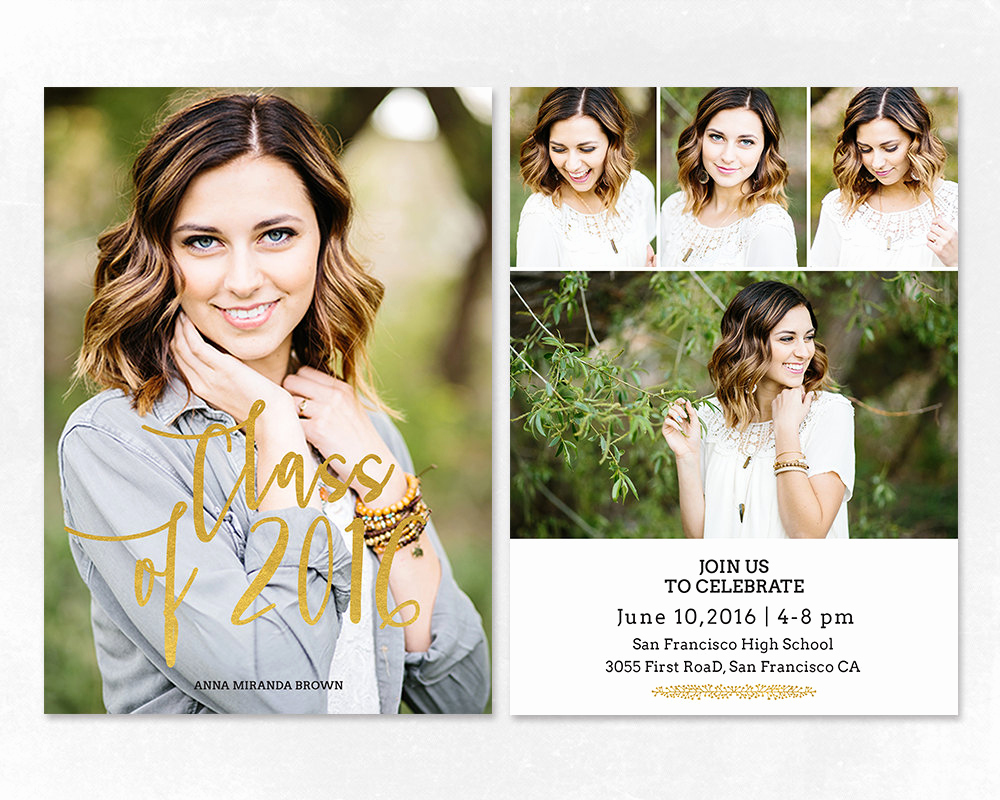 Graduation Invitation Templates Free Awesome Senior Graduation Announcement Template for by Salsaldesign