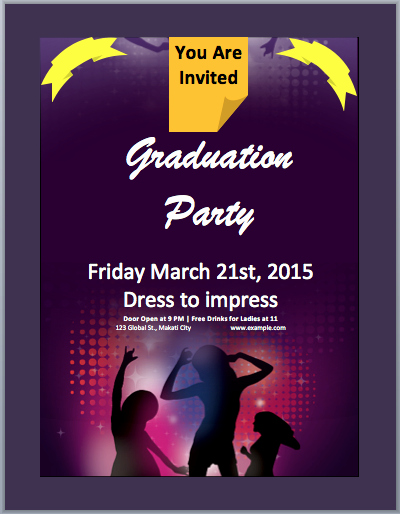 Graduation Invitation Templates Microsoft Word Elegant Graduation Party Invitation Flyer