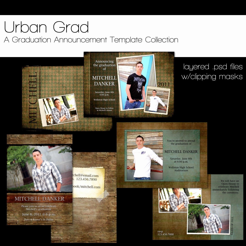 Graduation Invitation Templates Photoshop Beautiful Items Similar to Urban Grad Graduation Announcement