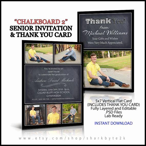 Graduation Invitation Templates Photoshop Fresh 2017 Invitation and Thank You Card for Senior Graduation