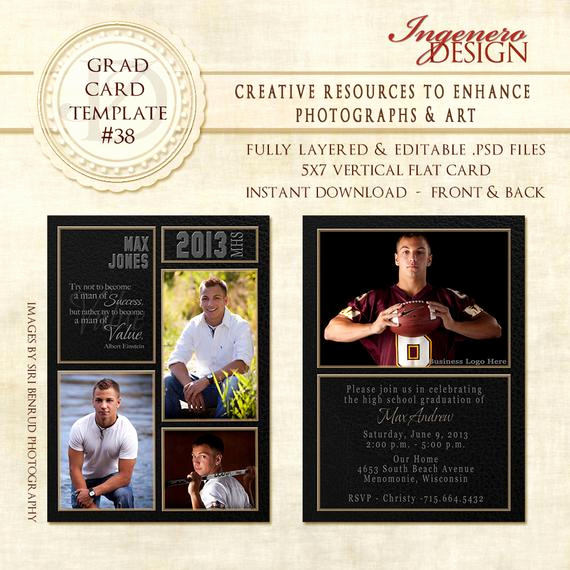 Graduation Invitation Templates Photoshop Fresh Senior Boy Invitation Shop Template by Ingenerodesign