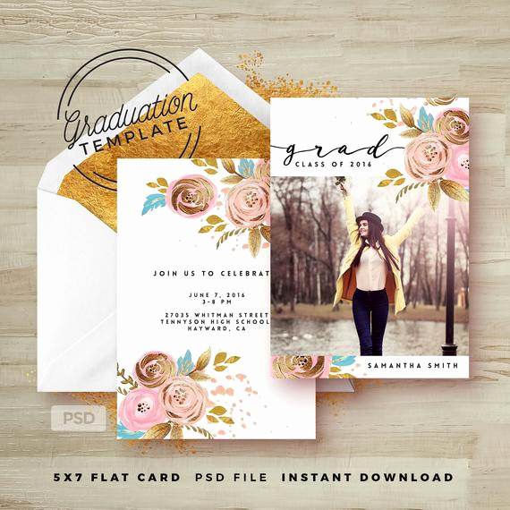 Graduation Invitation Templates Photoshop New Items Similar to Rose Gold Floral Graduation Invitation