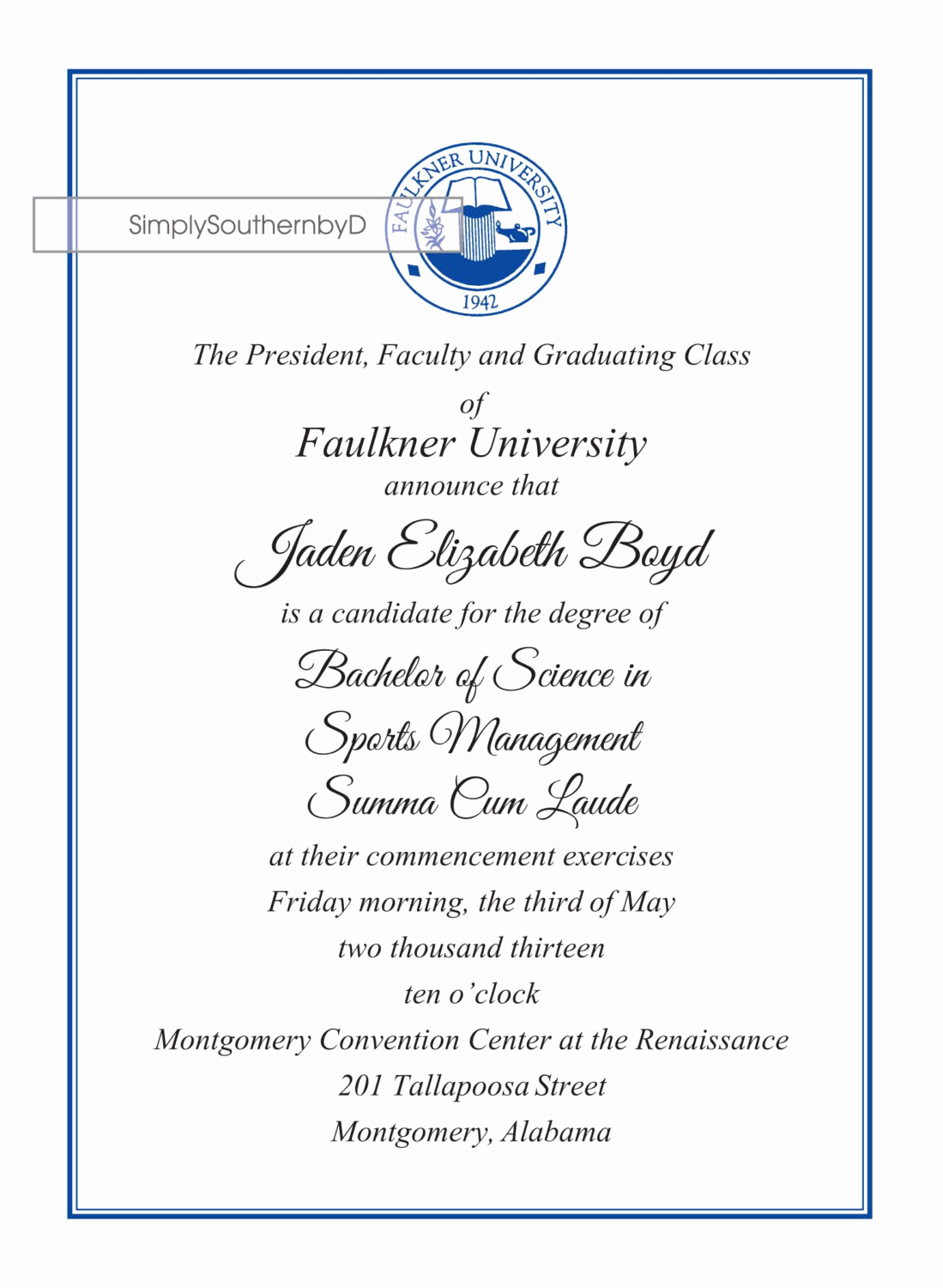 Graduation Invitation Wording Samples Beautiful College Graduation Announcements by Simplysouthernbyd On Etsy