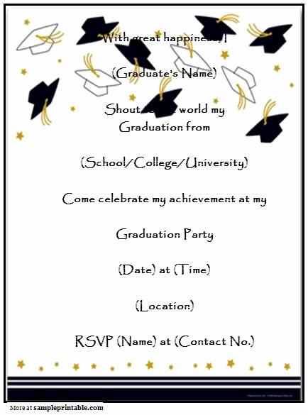 Graduation Invitation Wording Samples Luxury Graduation Party Invitation Templates Free Printable