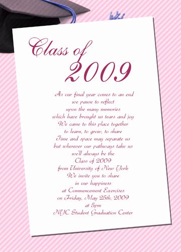 Graduation Invitation Wording Samples New Sample Graduation Invites