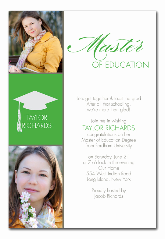 Graduation Luncheon Invitation Wording Luxury Masters Grad Graduation Announcements by Invitation