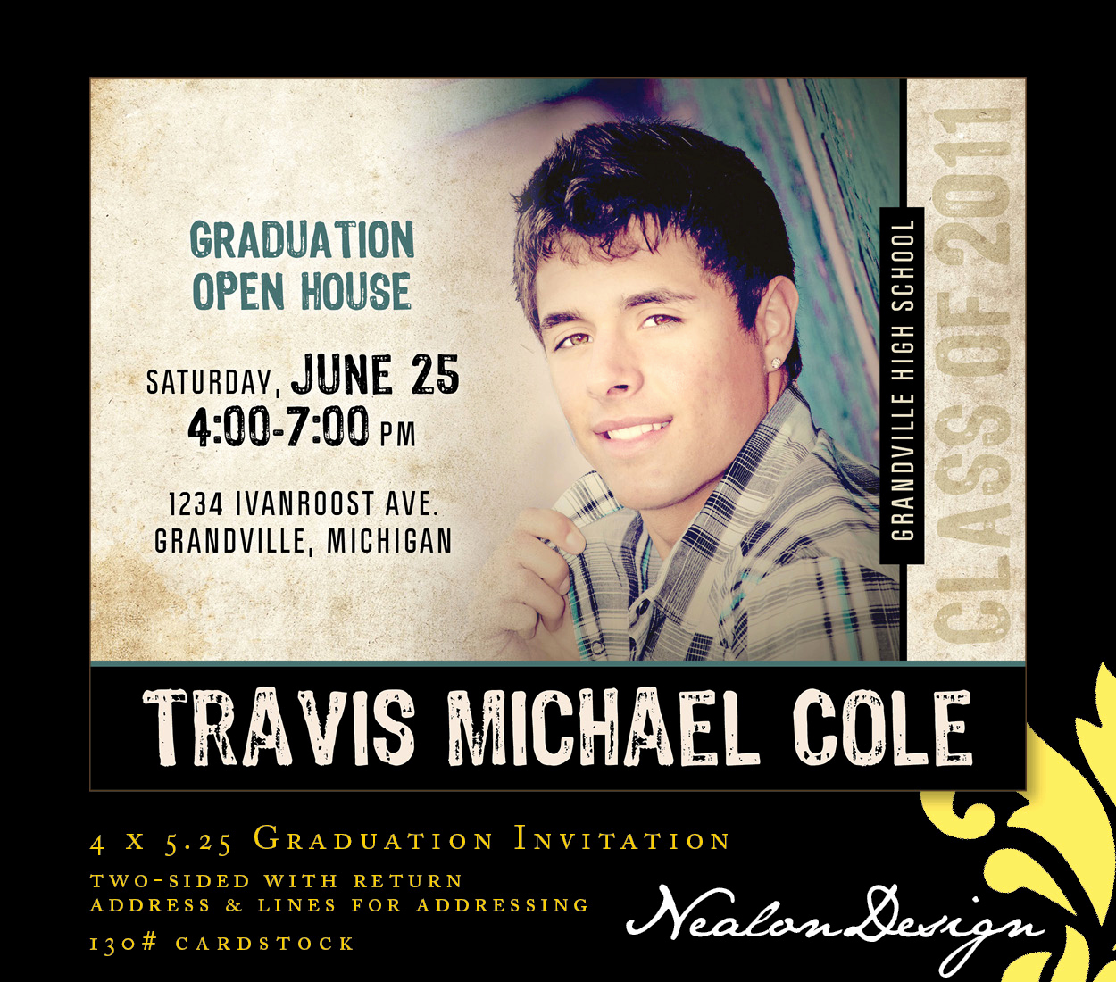 Graduation Open House Invitation Awesome Nealon Design Travis — Modern Graduation