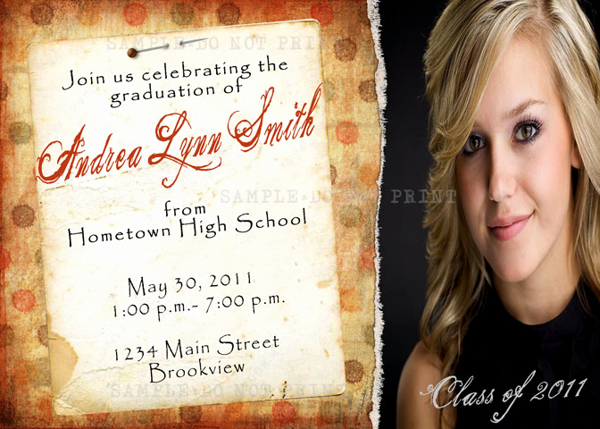 Graduation Open House Invitation Elegant Personalized Printable Invitations