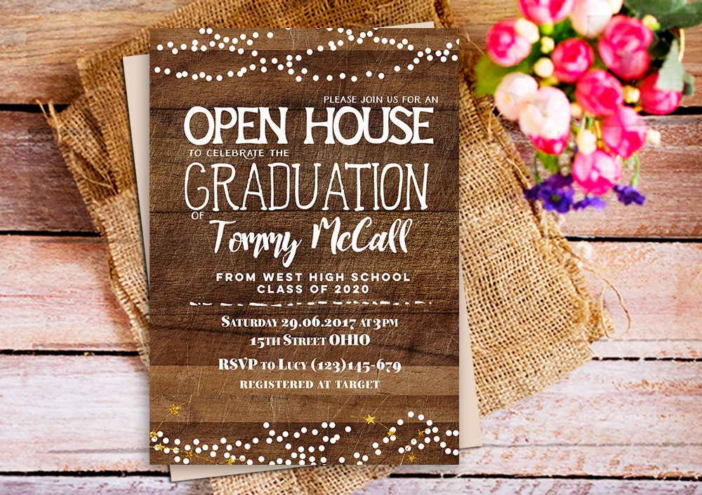 Graduation Open House Invitation Ideas Beautiful Open House Graduation Invitation Rustic Wood Graduation