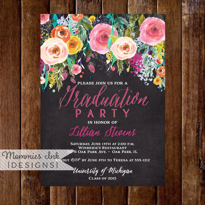 Graduation Open House Invitation Ideas Inspirational Graduation Party Invitation Watercolor Flowers Invitation